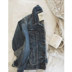 new A&F distressed/denim jacket